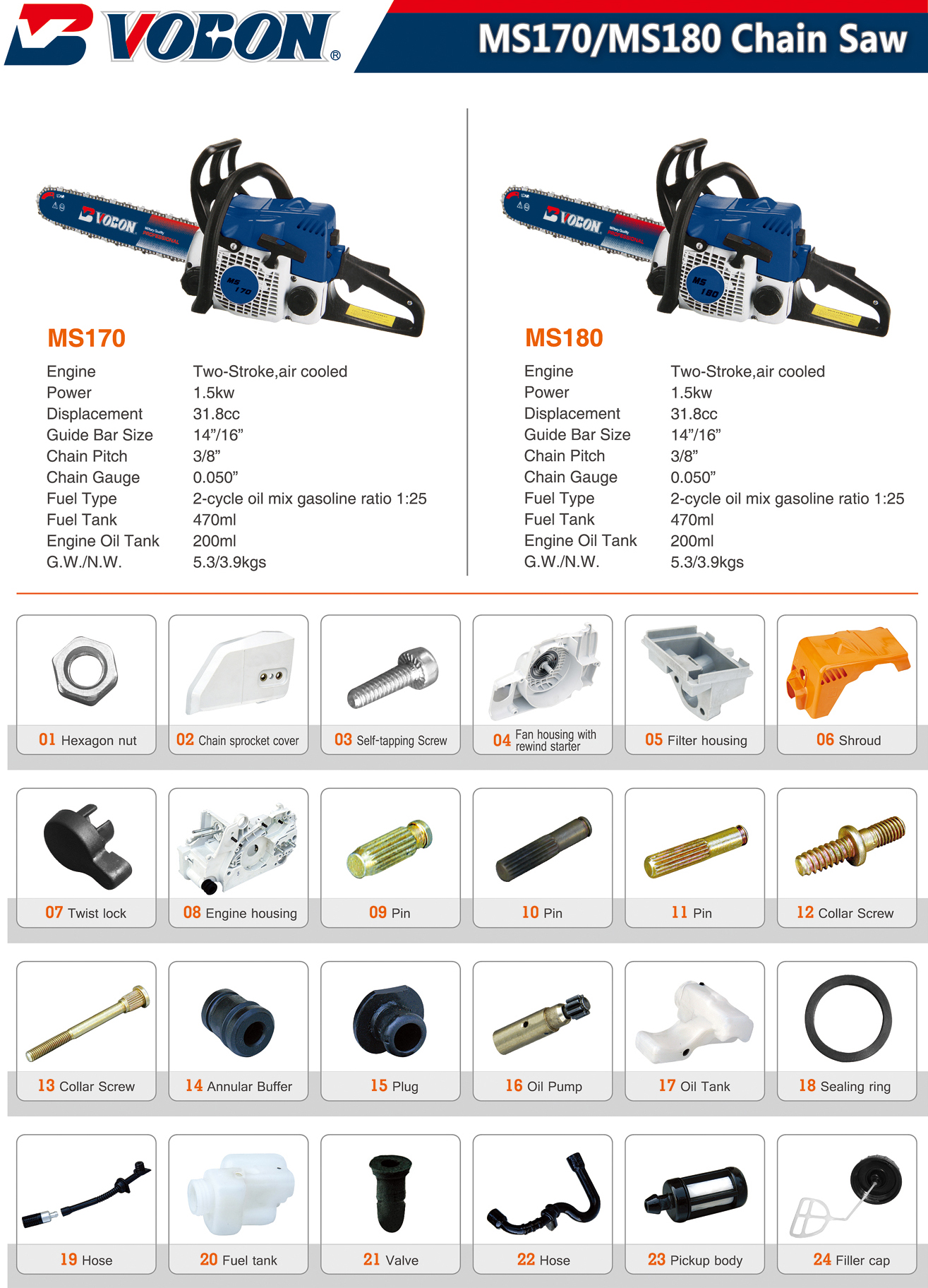 MS170、MS180 Chain Saw
