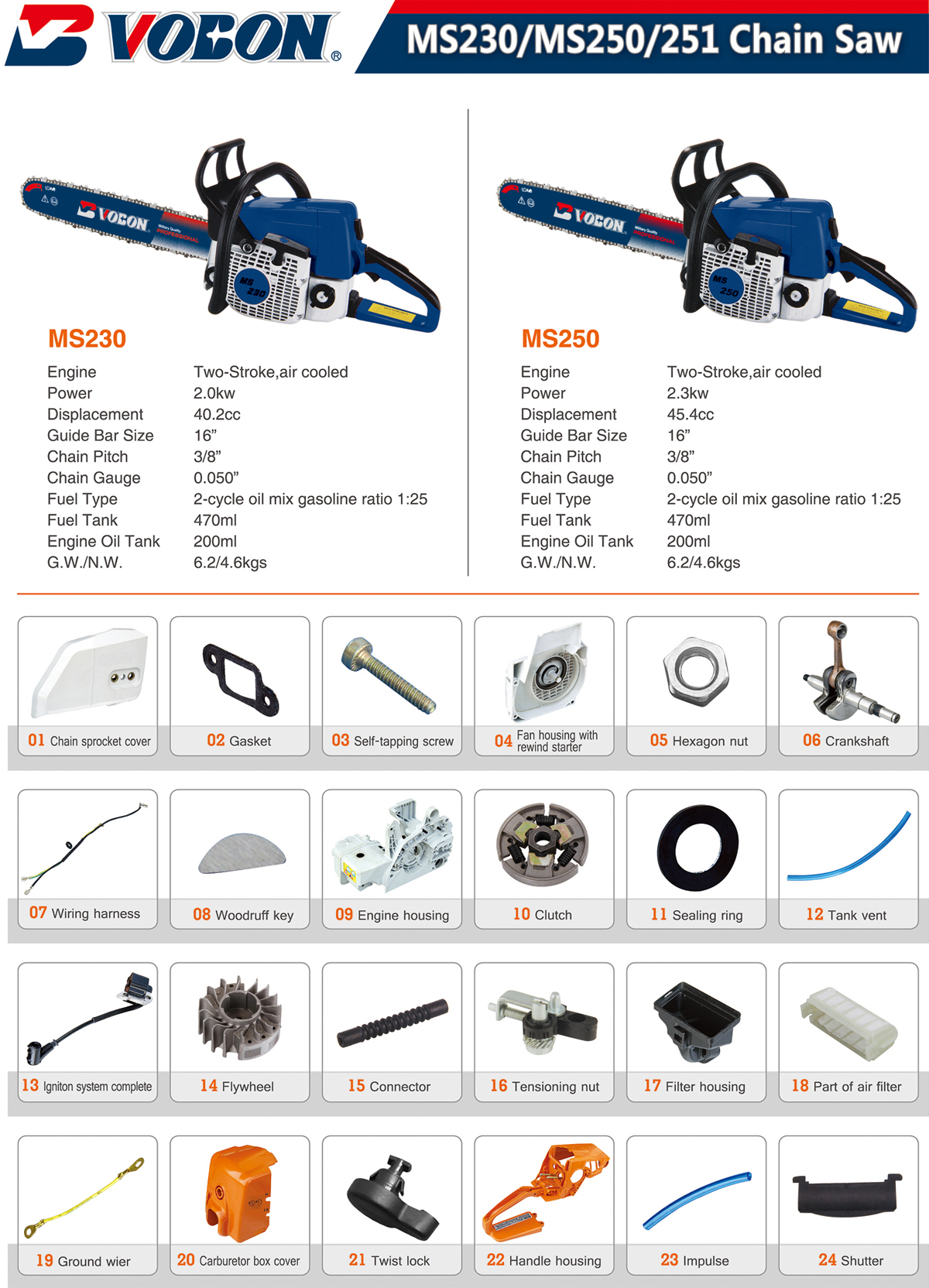 MS230、MS250、251 Chain Saw